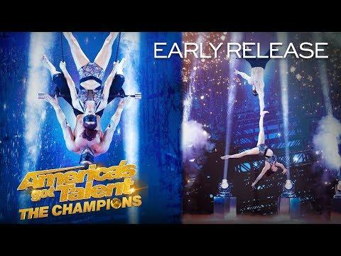 Duo Transcend Escapes DANGER With Sexy BLINDFOLD Act - America's Got Talent: The Champions