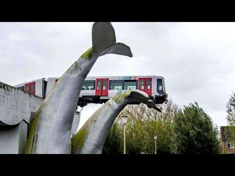 Statue Stops Train From Falling Off. Your Daily Dose Of Internet Video.