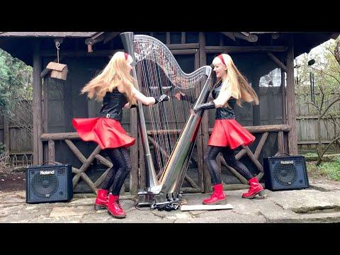 2 Girls 1 Harp! Dancing With Myself (Billy Idol) - Camille and Kennerly, Harp Twins