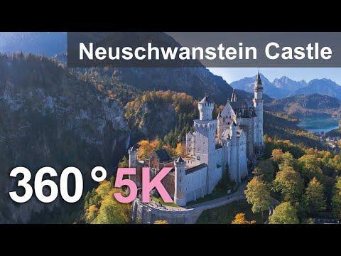 Neuschwanstein Castle, Germany. Aerial 360 video in 5K