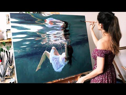 I painted myself underwater | Oil Painting Time Lapse | Realistic Underwater Scene #Video
