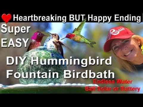 How To Make Endless Water HUMMINGBIRD Bird Bath BALL. EASY DIY Attracts Birds Solar Powered Fountain