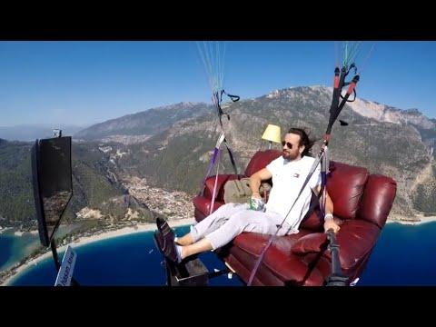Man With A Flying Living Room Video. Your Daily Dose Of Internet.