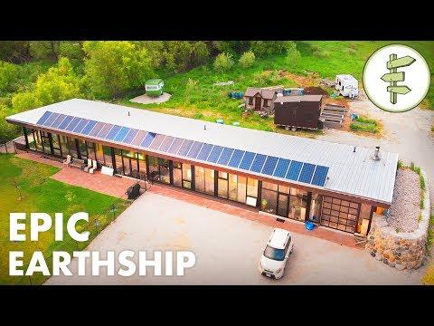 Man Living in a Sustainable & Innovative Earthship Home - Full Tour