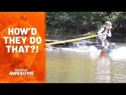 Kid Wakeboards To School Video| How'd They Do That?