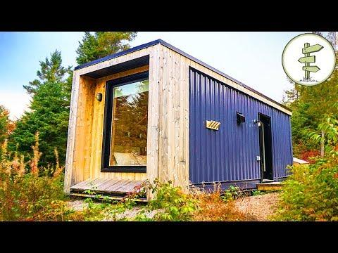 Used Shipping Container Turned into Minimalist Micro Cabin - Full Tour in 4K