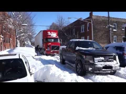 Ford F150 FX4 Tows Semi Truck During Chicago Blizzard