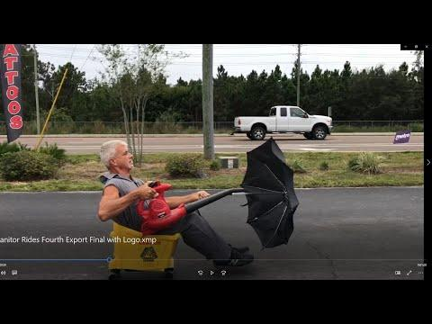 Florida Man Brian Mop Bucket ,Leaf Blower ,Umbrella Ride Video