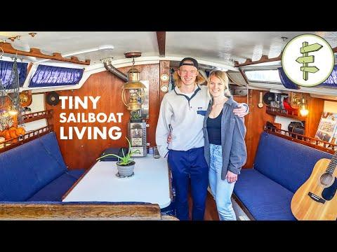 Couple's Low-Cost Living on a Sailboat in the City. #Video